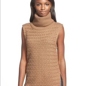 Anthropologie Tan Turtle Neck Cable Knit Sweater